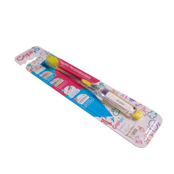 Foto de un cepillo de dientes personalizable amarillo de Cepiyo